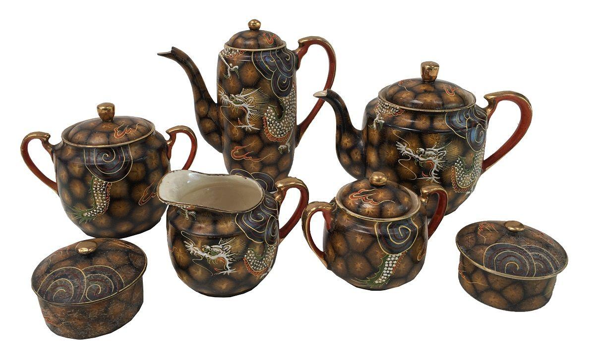 Conjunto Porcelana Satsuma Antiga Servir Cha E Cafe