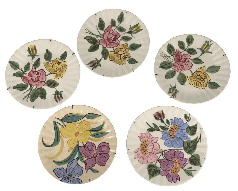 Conjunto Pratos Decorativos Porcelana Americana Pintado A Mao