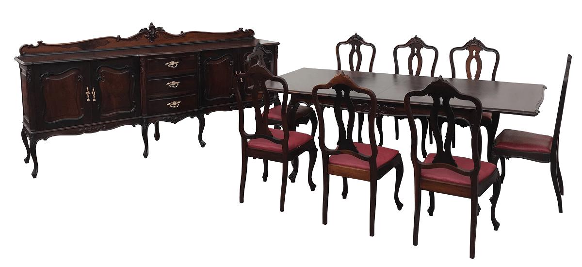 Conjunto Sala Mesa De Jantar 8 Cadeiras E Buffet Luis Xv Todo Em