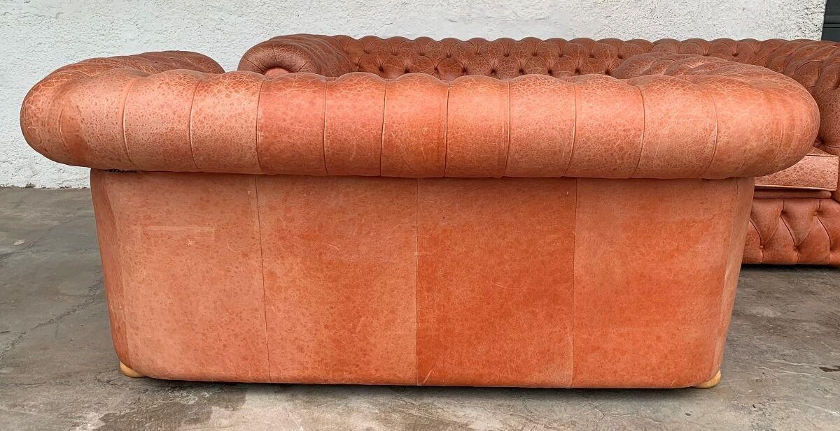 Conjunto Sofa Chesterfield Couro Natural 2 E 3 Lugares