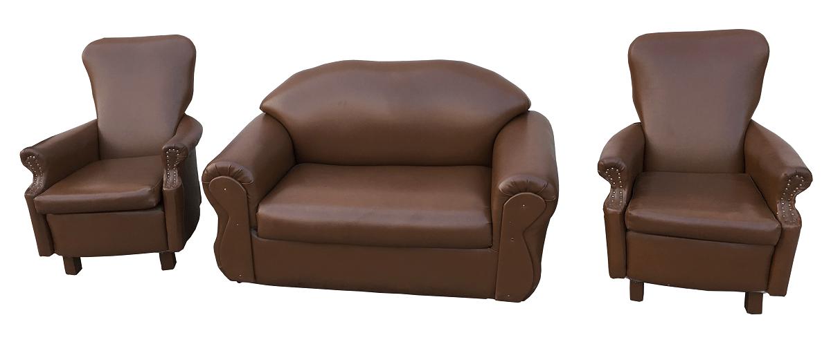Conjunto Sofa E Poltronas Berger Em Couro