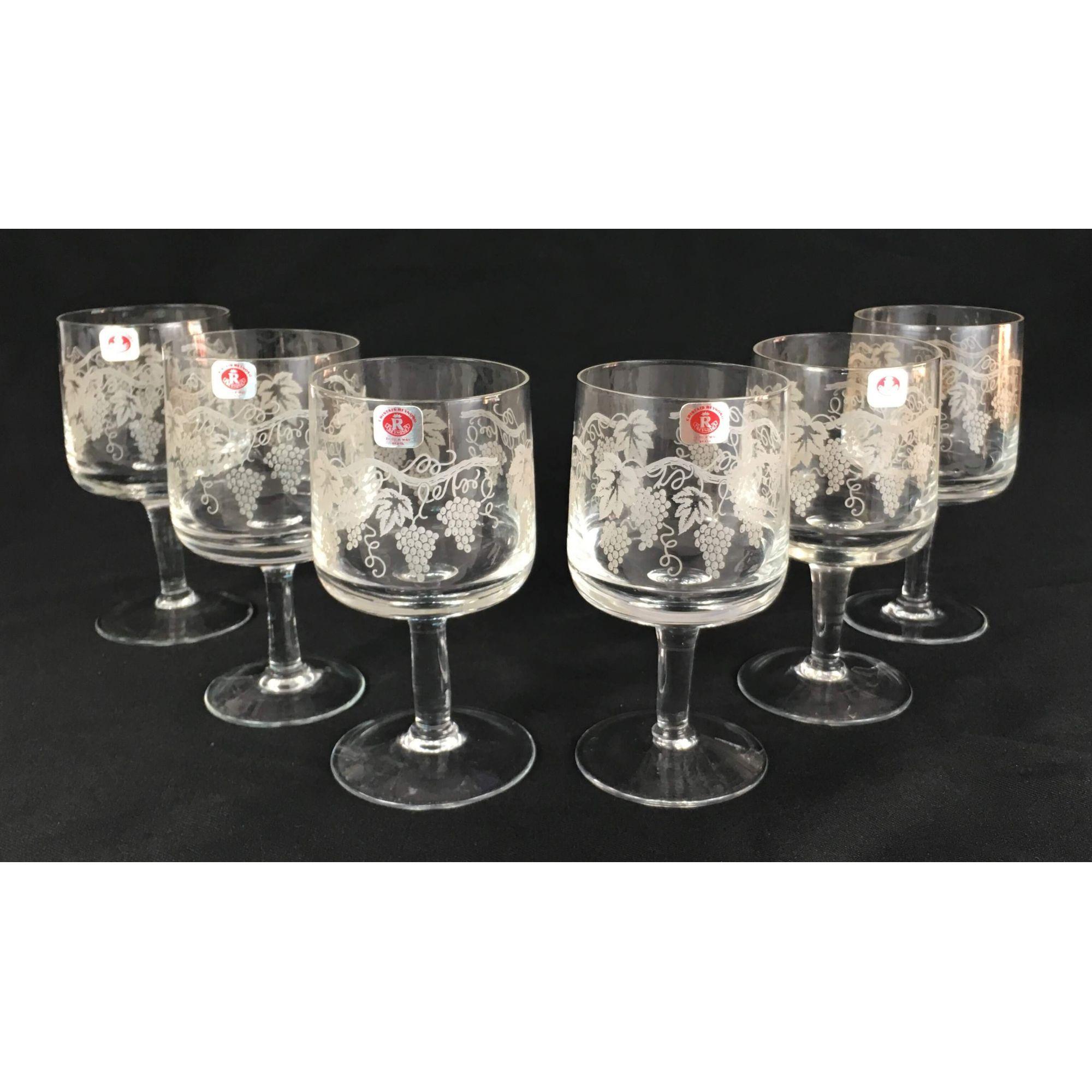 Conjunto Taças Antigas Cristal Reynoso Desenho Uvas