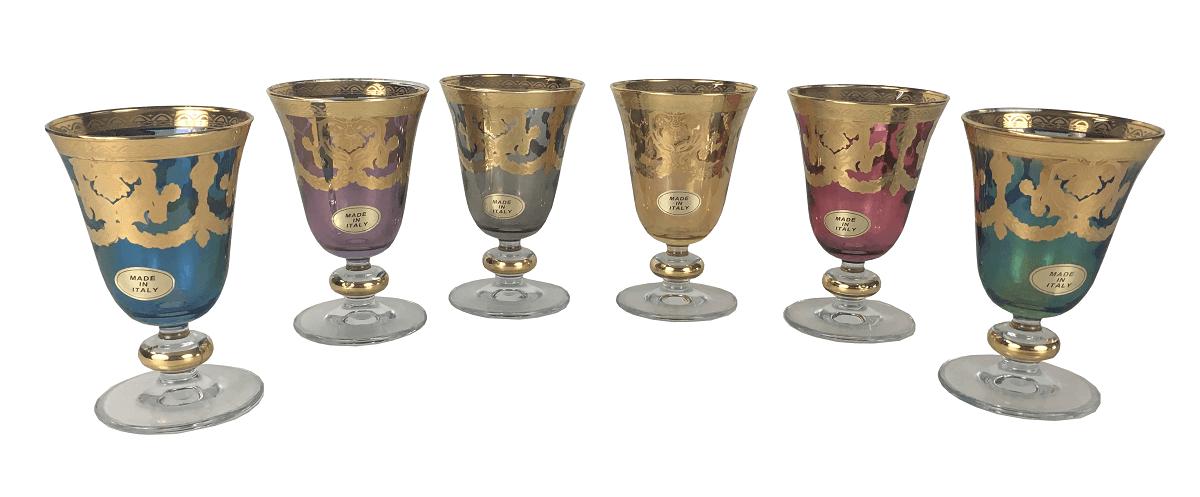 Conjunto Taças Cristal Italiano Colorido Pintura Ouro Para Vinho