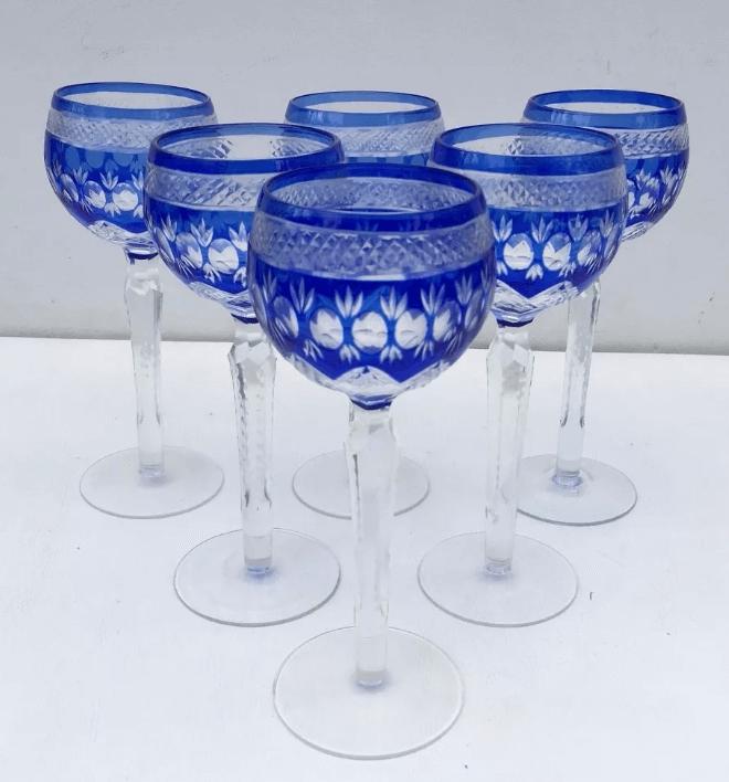 Conjunto Taças Para Vinho Em Cristal Europeu Bela Lapidação