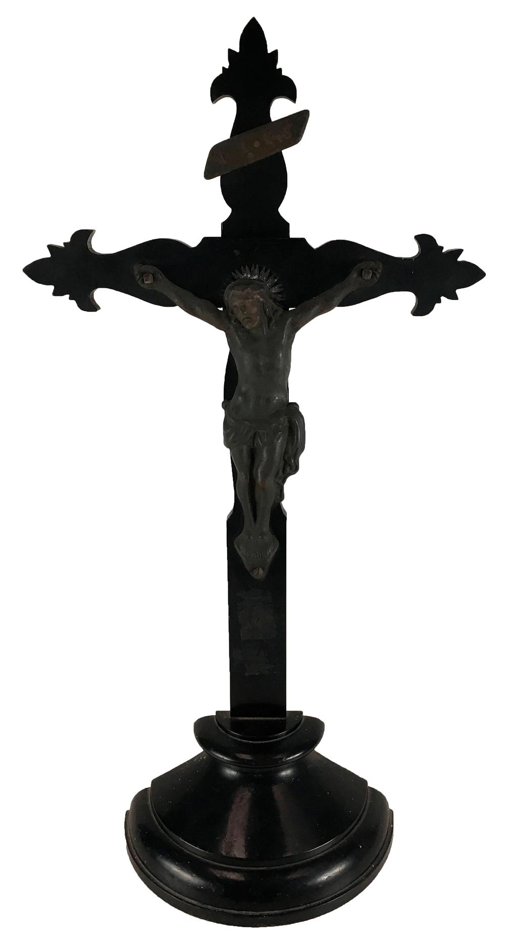 Crucifixo Antigo Em Madeira E Bronze 56cm