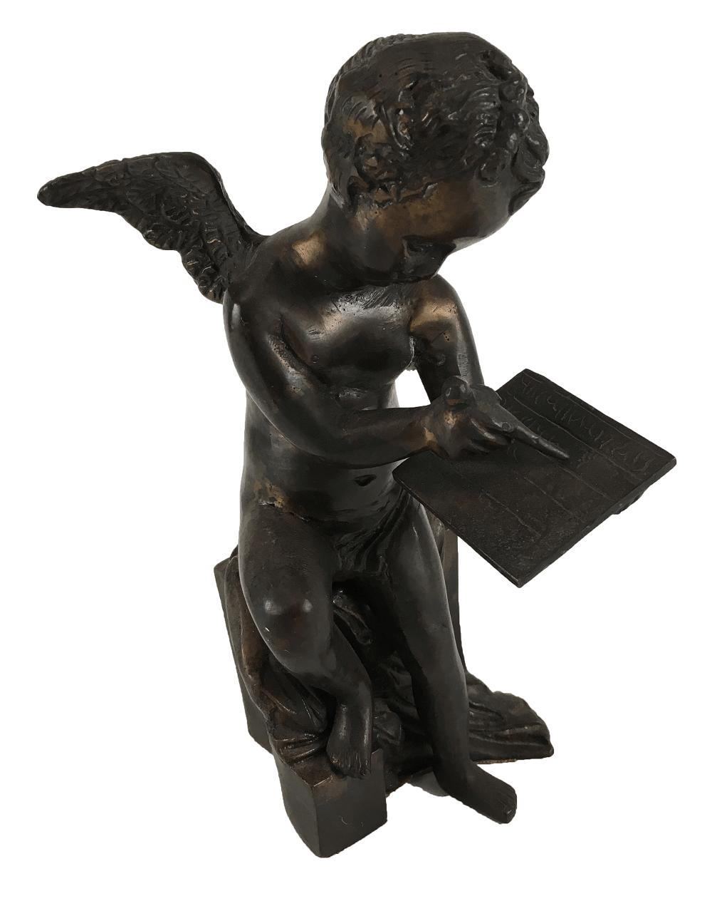 Escultura Antiga Anjo Em Metal
