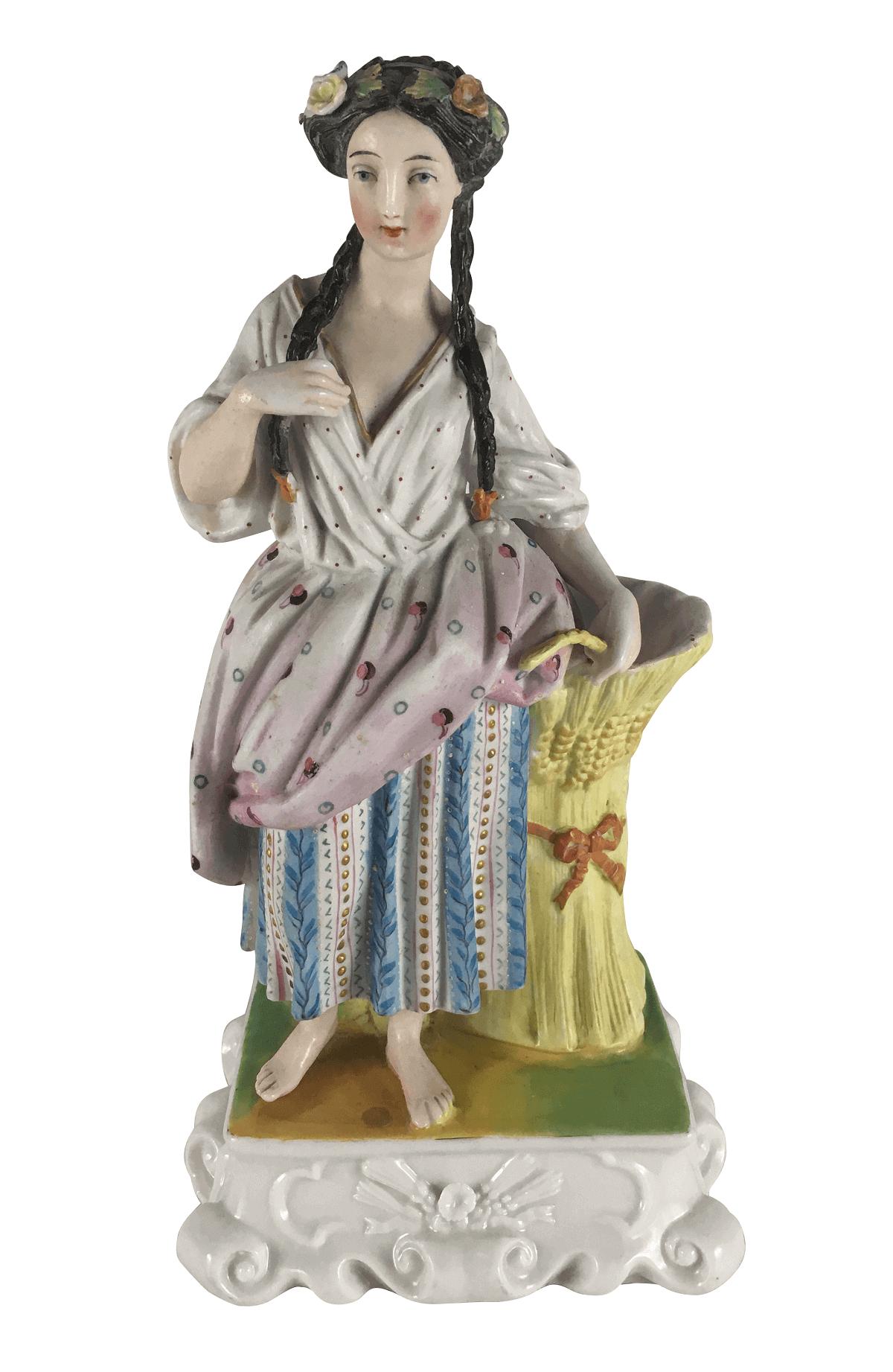 Escultura Antiga Biscuit Porta Caneta 24cm