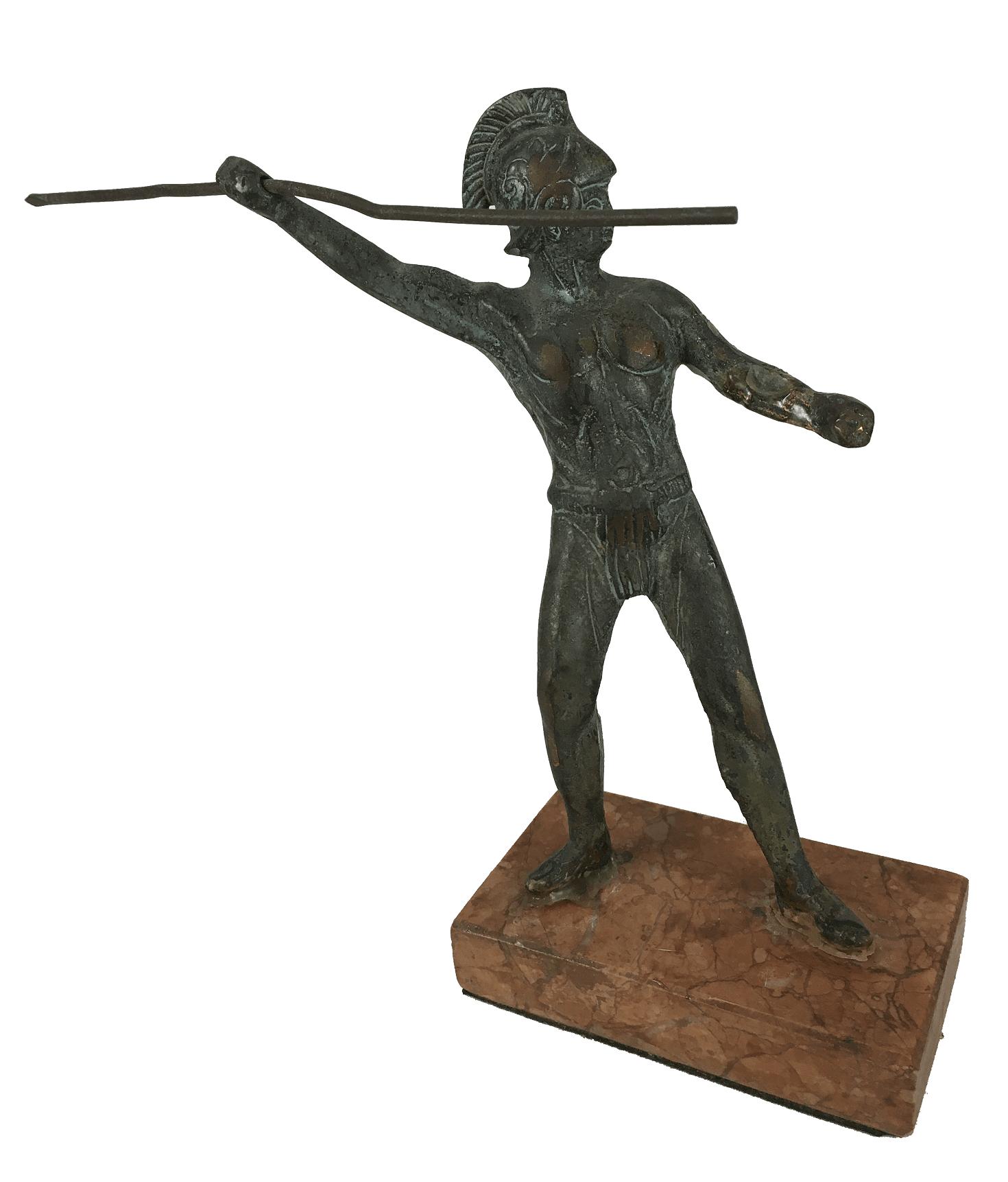 Escultura Antiga Bronze Guerreiro Romano