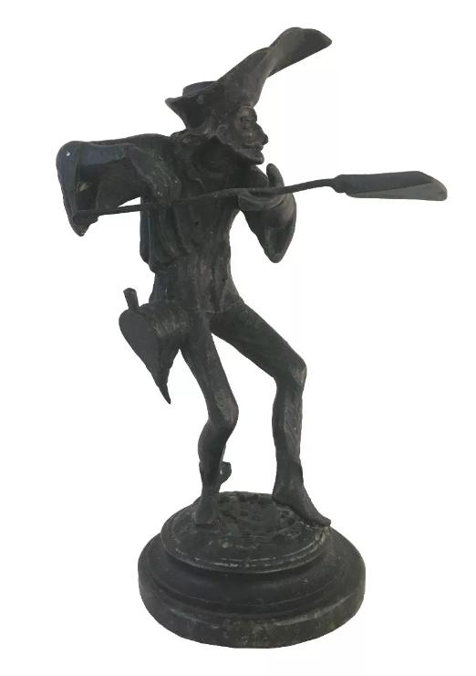 Escultura Antiga Castiçal Bronze Trabalhador