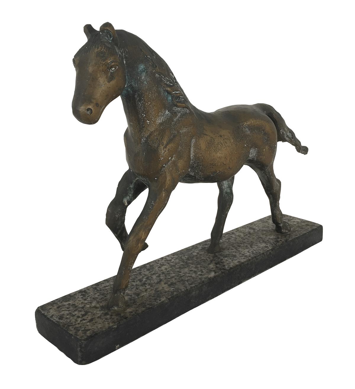 Escultura Antiga Cavalo Em Bronze Maciço Base Granito