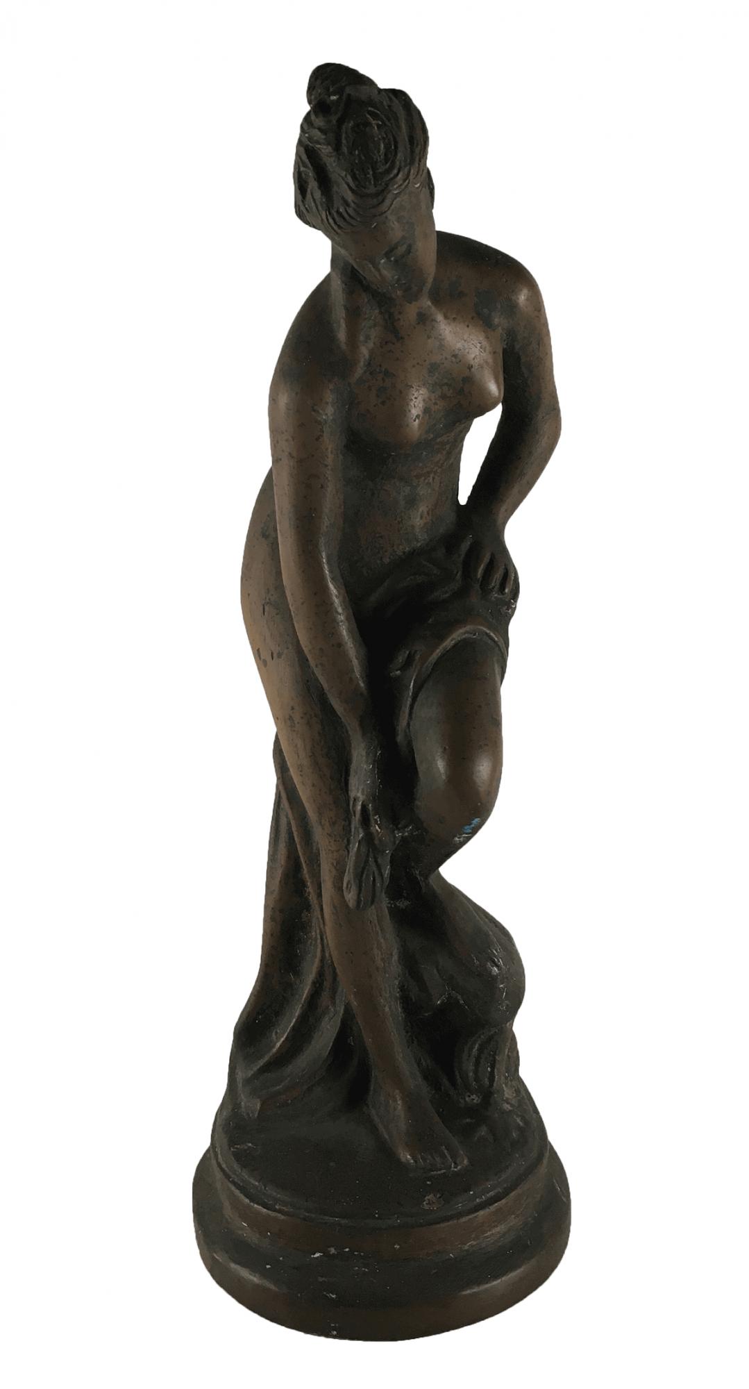 Escultura Antiga De Bronze Maciço Nu Feminino 6kg