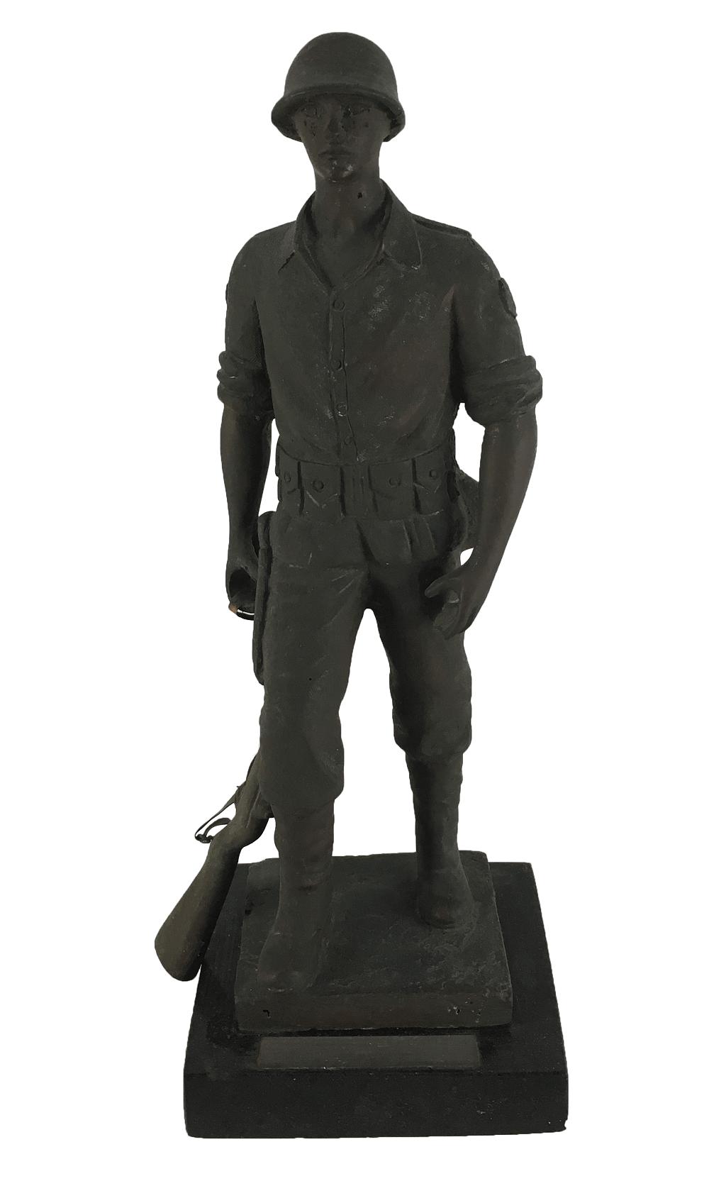Escultura Antiga De Bronze Soldado Brasileiro