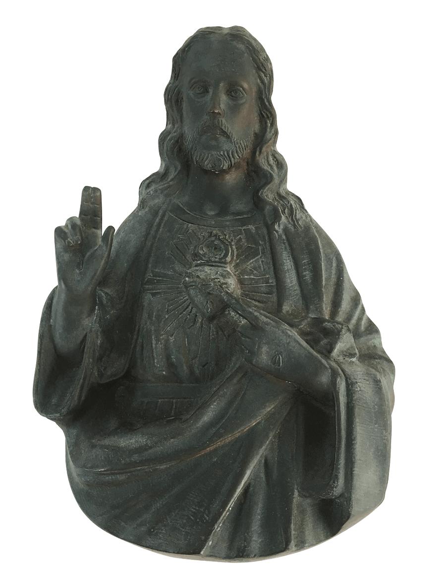 Escultura Antiga Em Bronze Sagrado Coraçao De Jesus De Parede