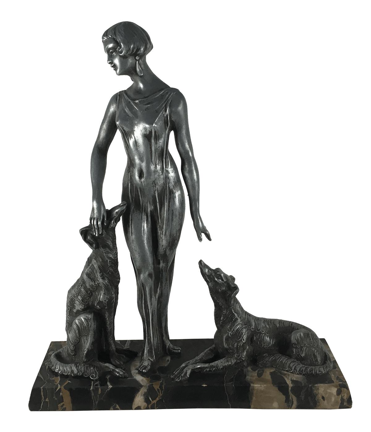 Escultura Antiga Estilo Chiparus Dama E Cachorro