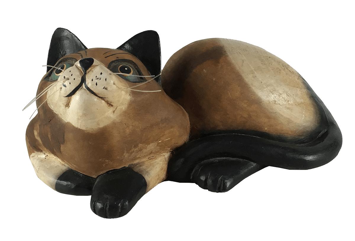 Escultura Antiga Gato De Madeira