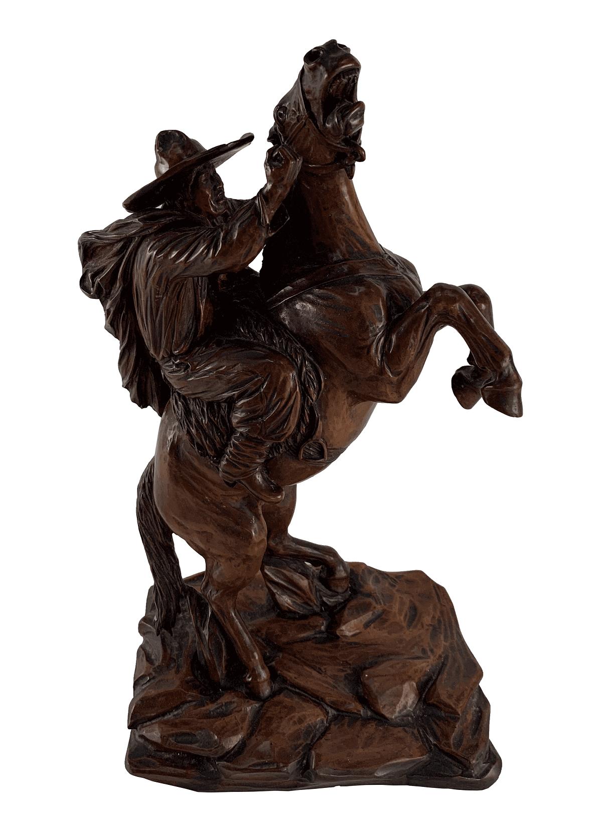 Escultura Antiga Madeira E. Teichmann Domando Cavalo