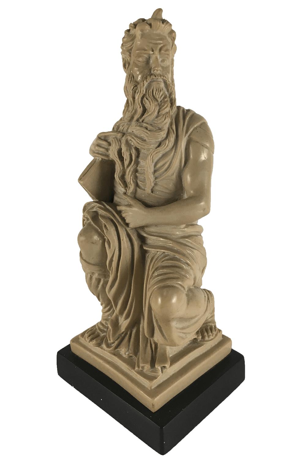 Escultura Antiga Moises Resina 22cm