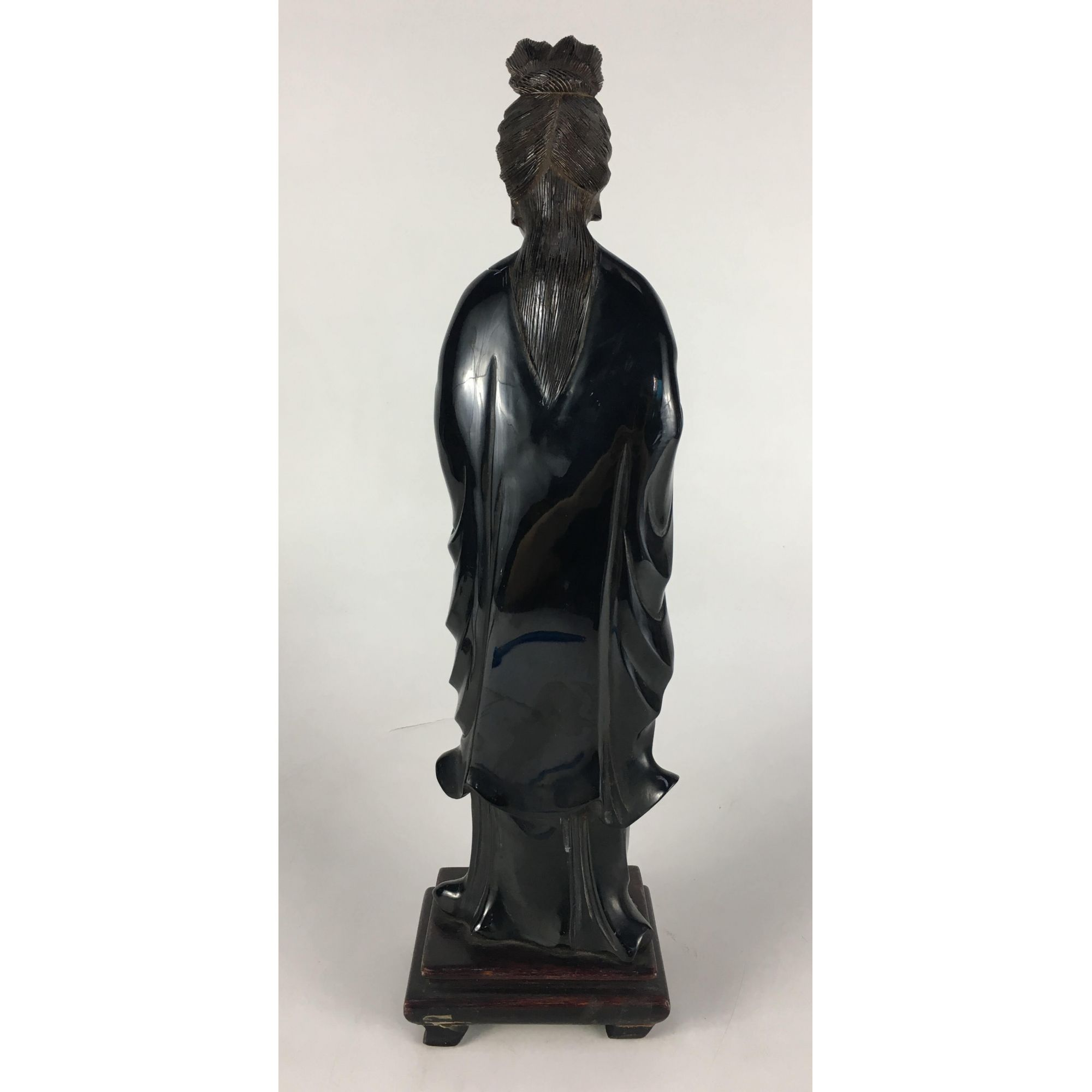 Escultura Antiga Oriental Gueixa Em Madeira 38cm