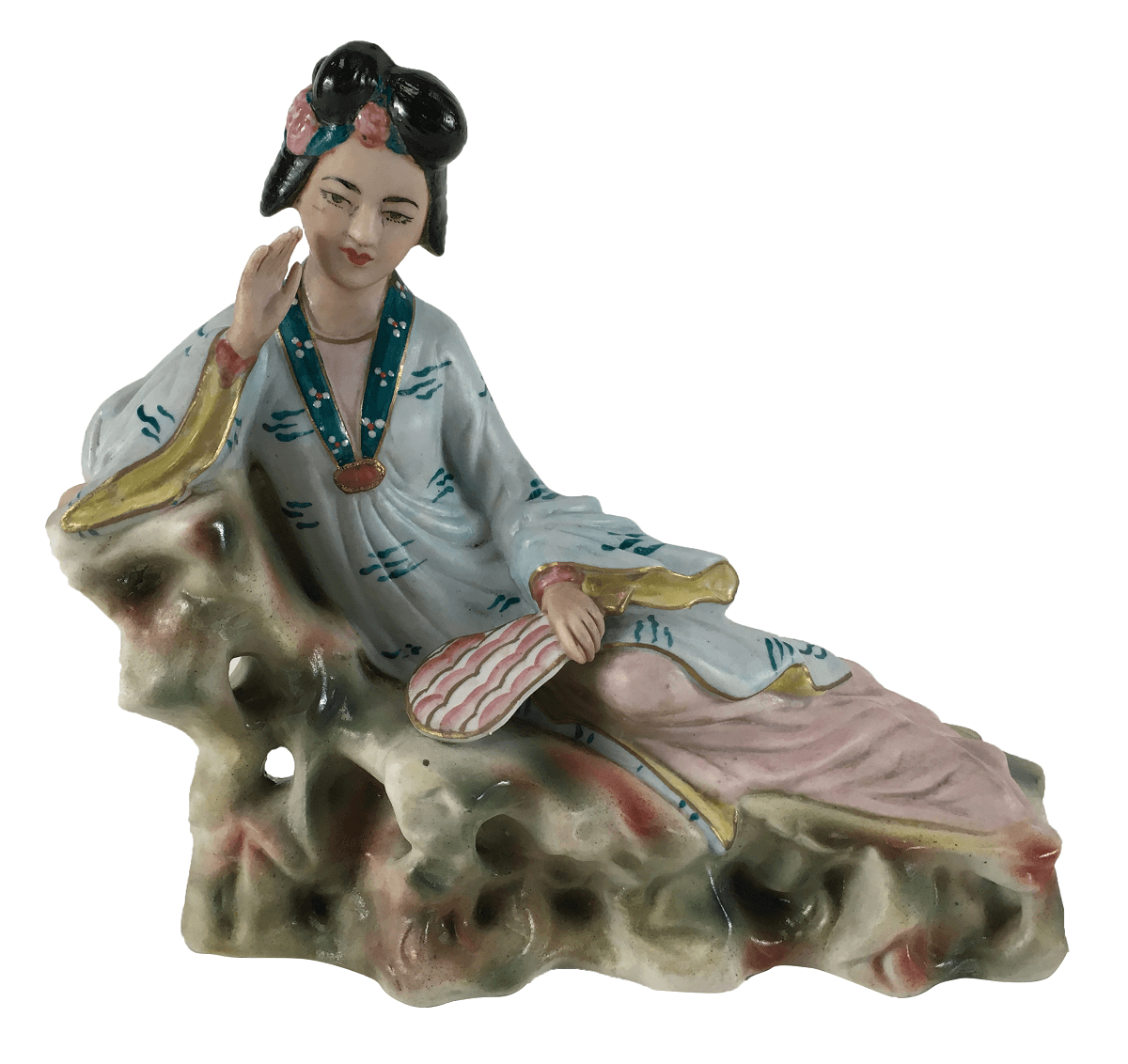 Escultura Antiga Porcelana Gueixa