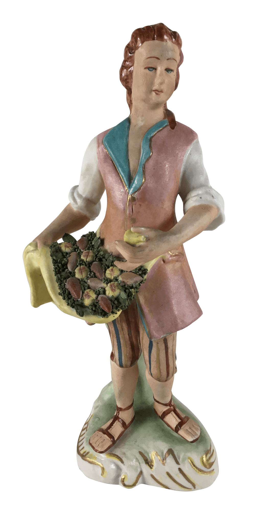 Escultura Antiga Porcelana Homem Colhendo Frutas