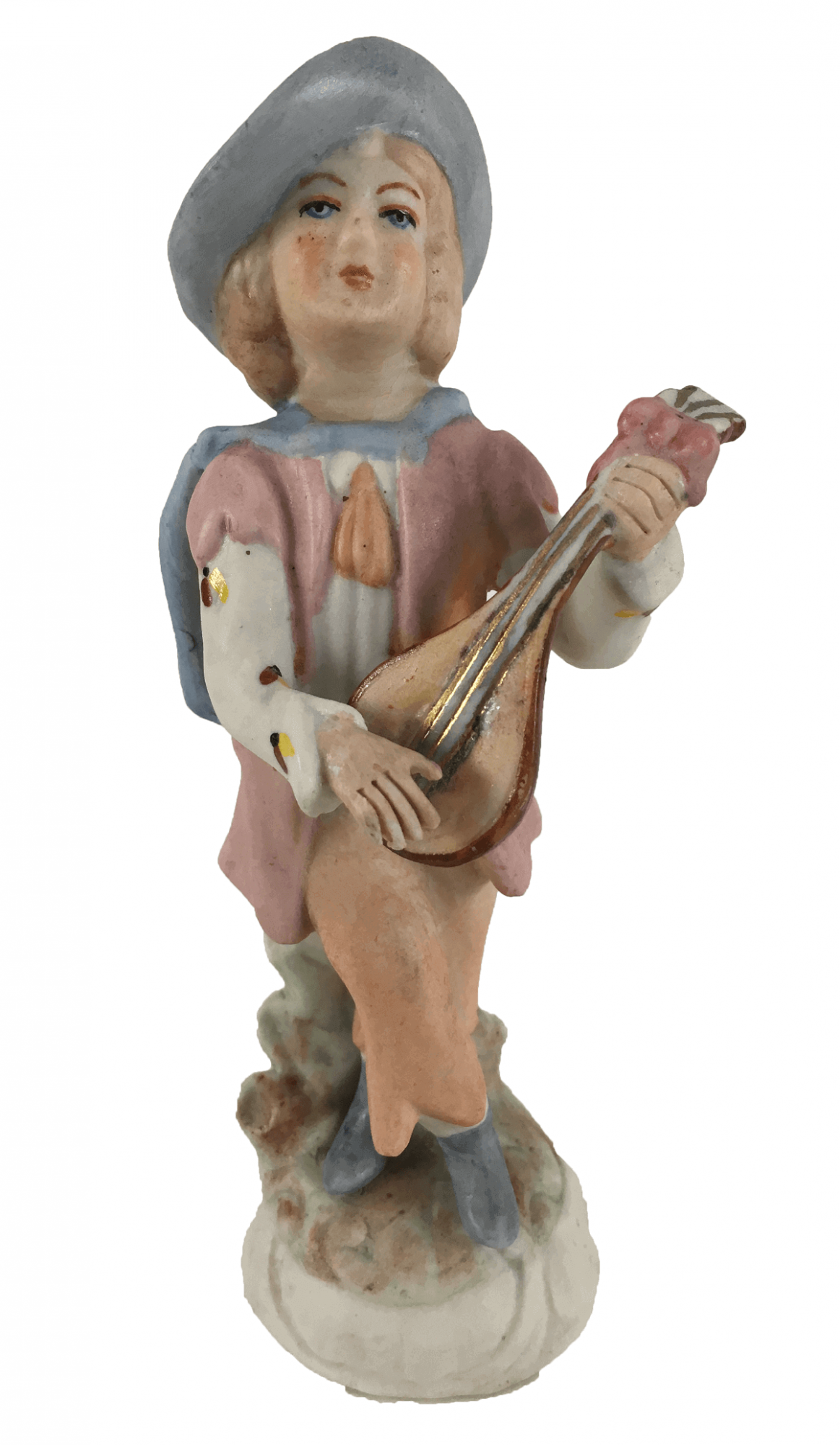 Escultura Antiga Porcelana Menino Tocando Violao