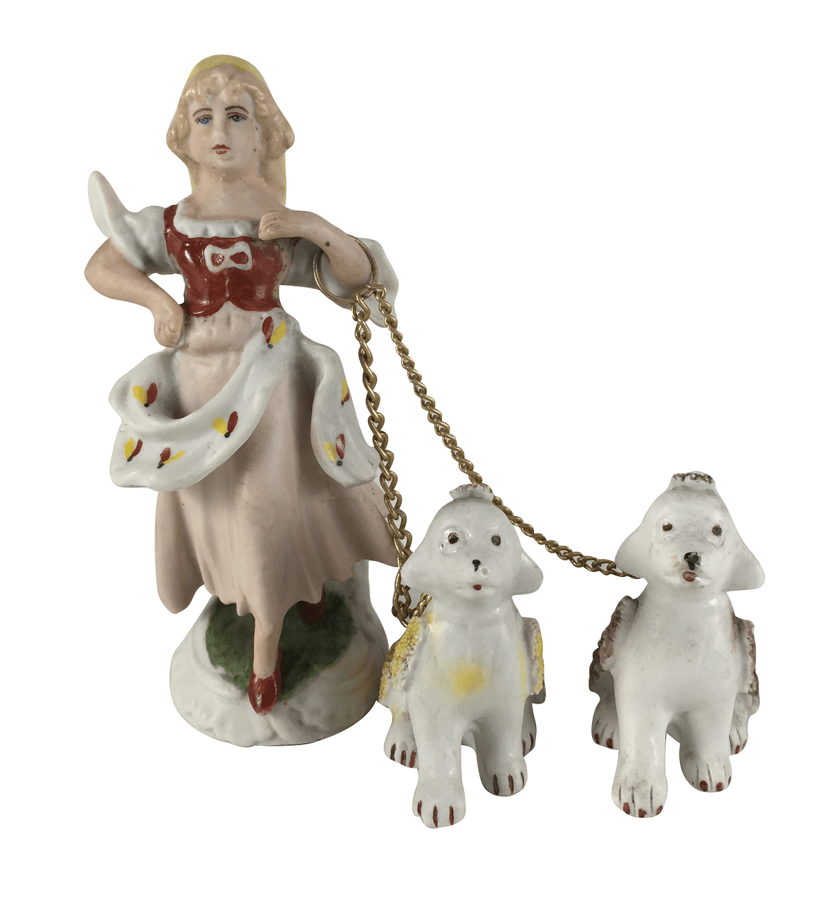 Escultura Antiga Porcelana Palb Mulher Com Cachorro