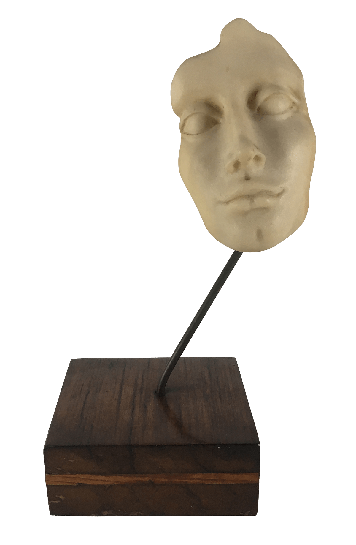Escultura Arte Moderna Rosto Feminino Base Madeira