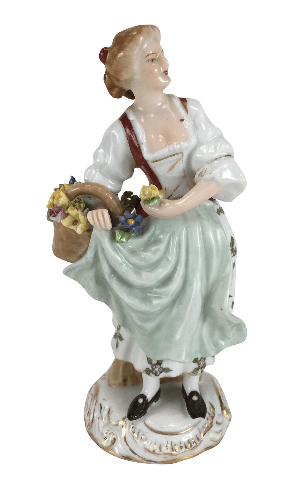 Escultura Bibelo Porcelana Antiga Dama Com Flores