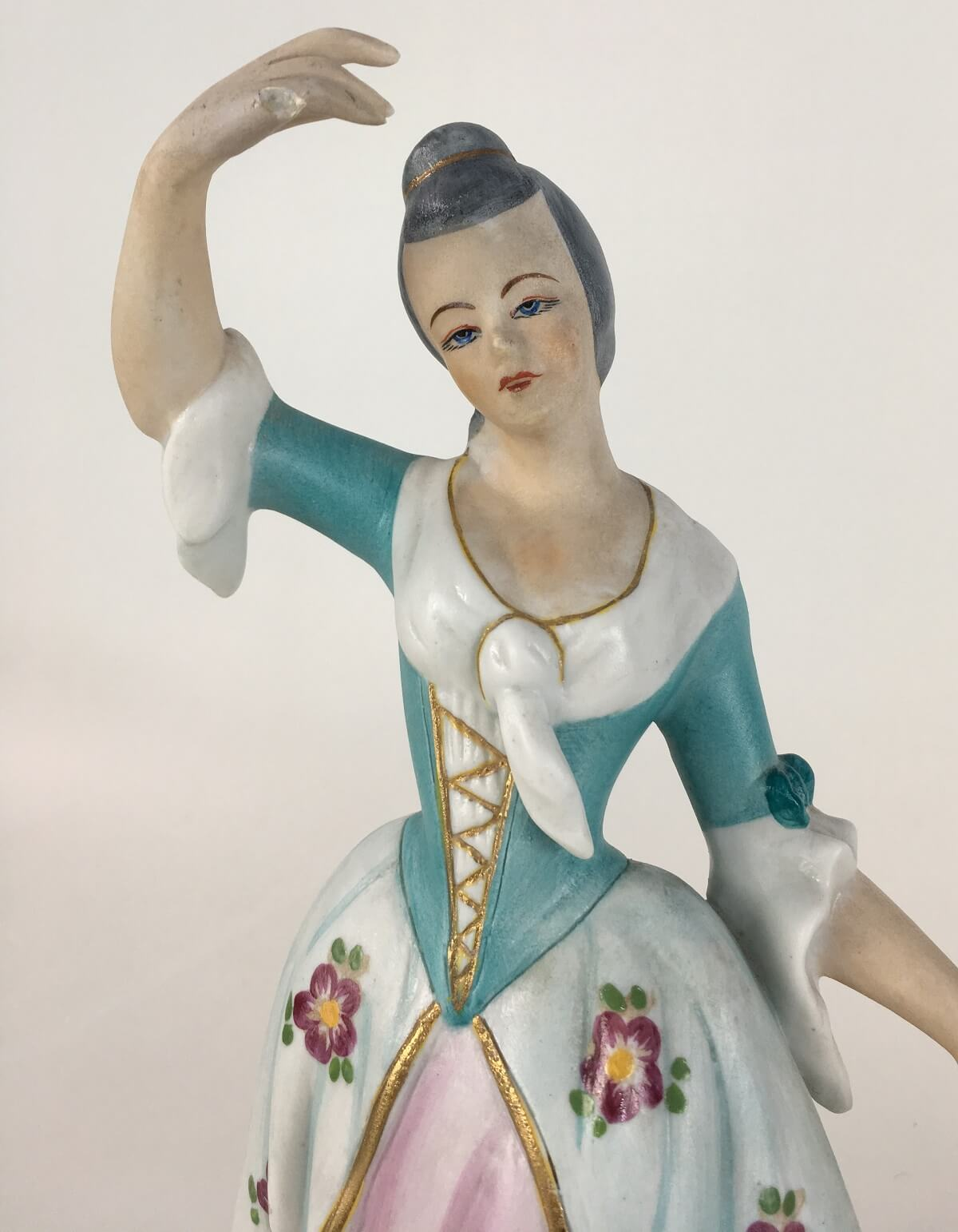Escultura Casal Nobre Porcelana Antiga Biscuit 30cm