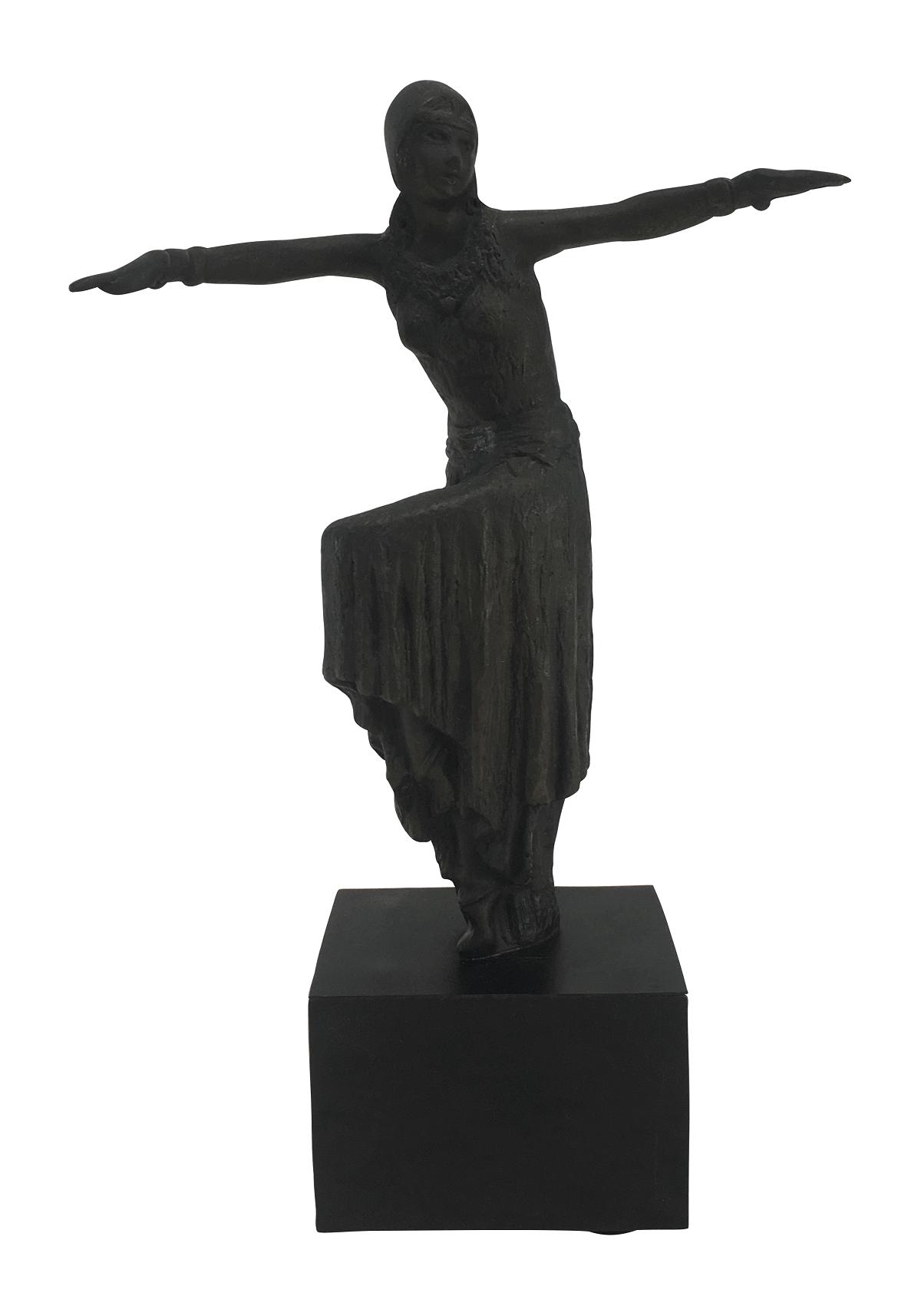 Escultura Em Bronze Estilo Chiparus Dançarina Egipcia