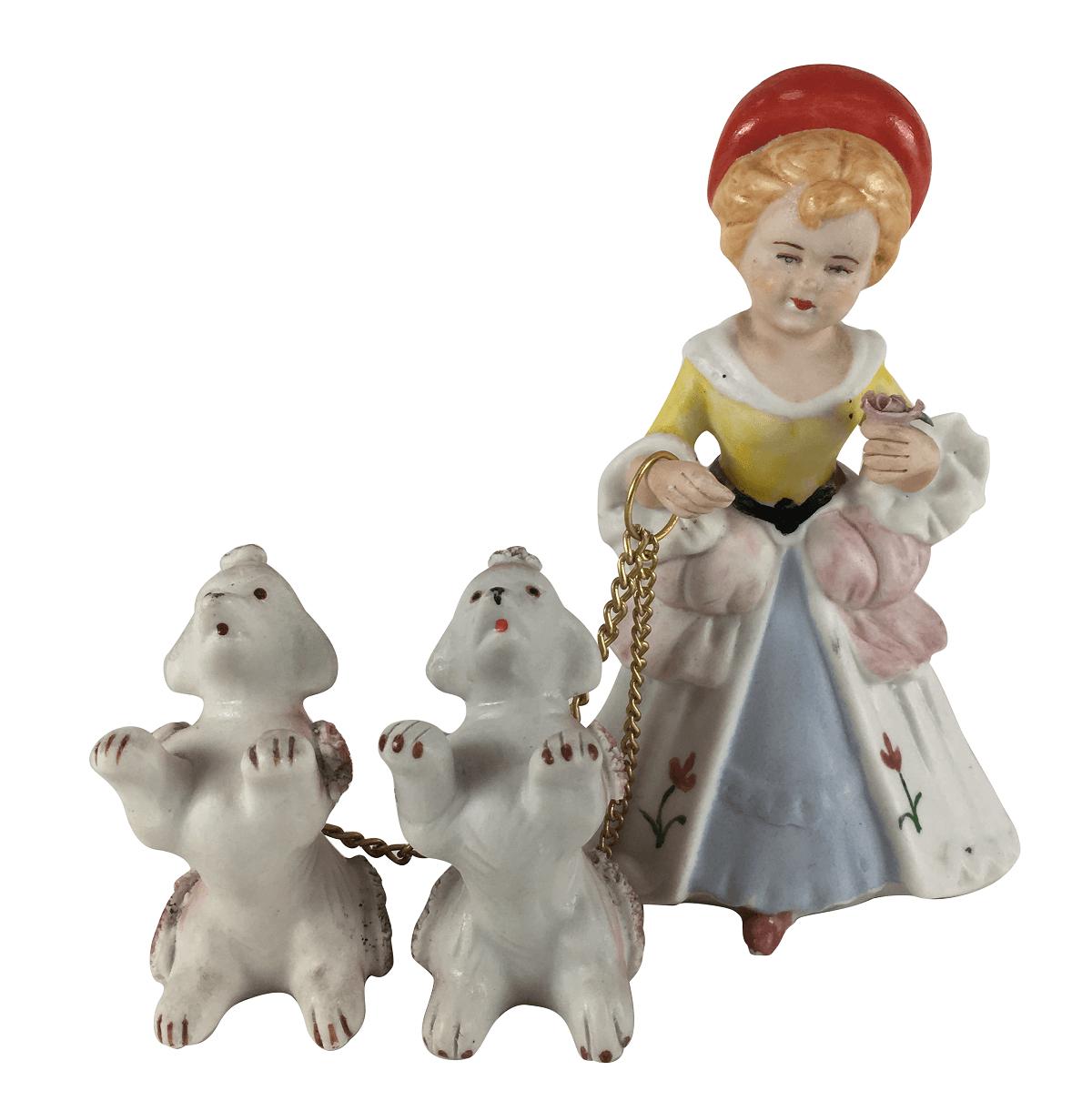 Escultura Em Porcelana Antiga Mulher Com Cachorro