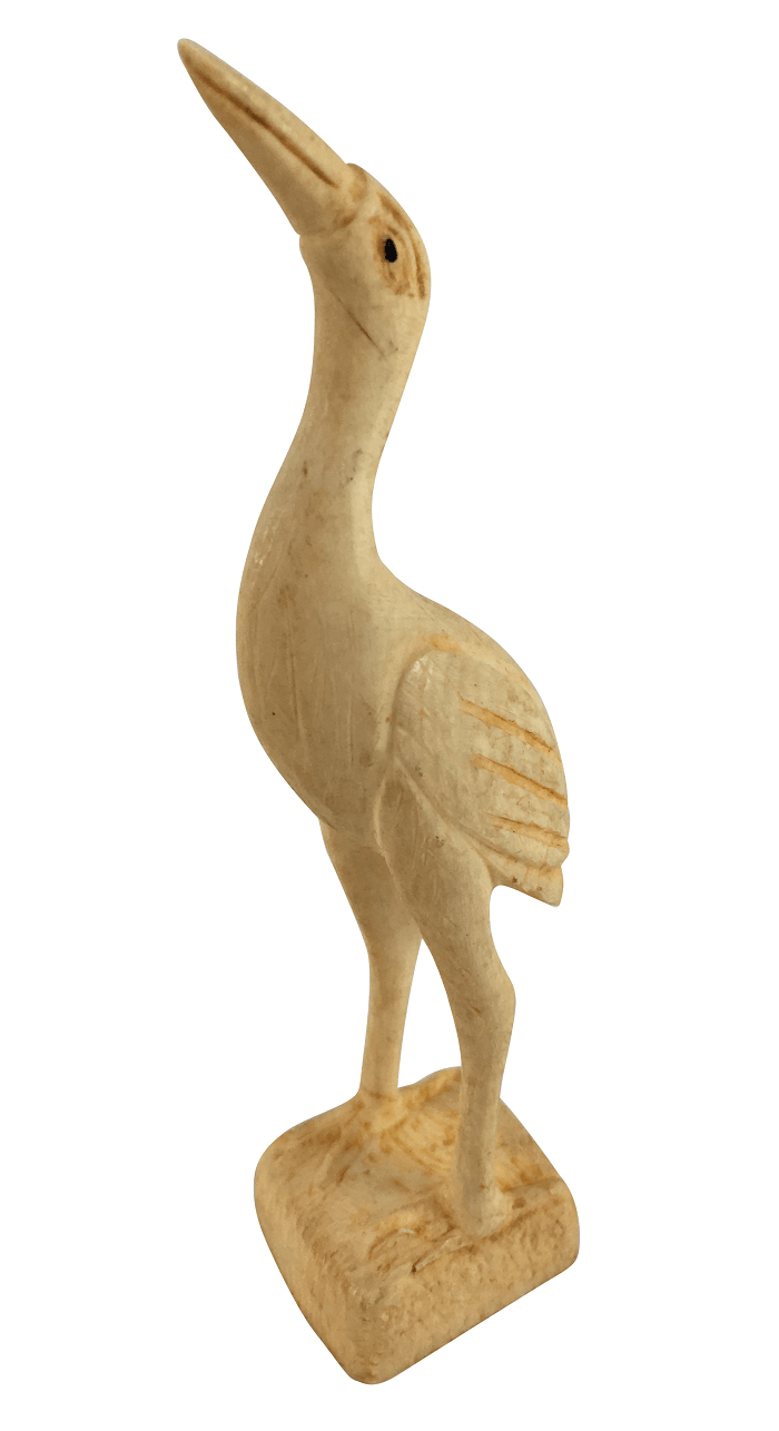 Escultura Garça Em Marfim Ou Osso