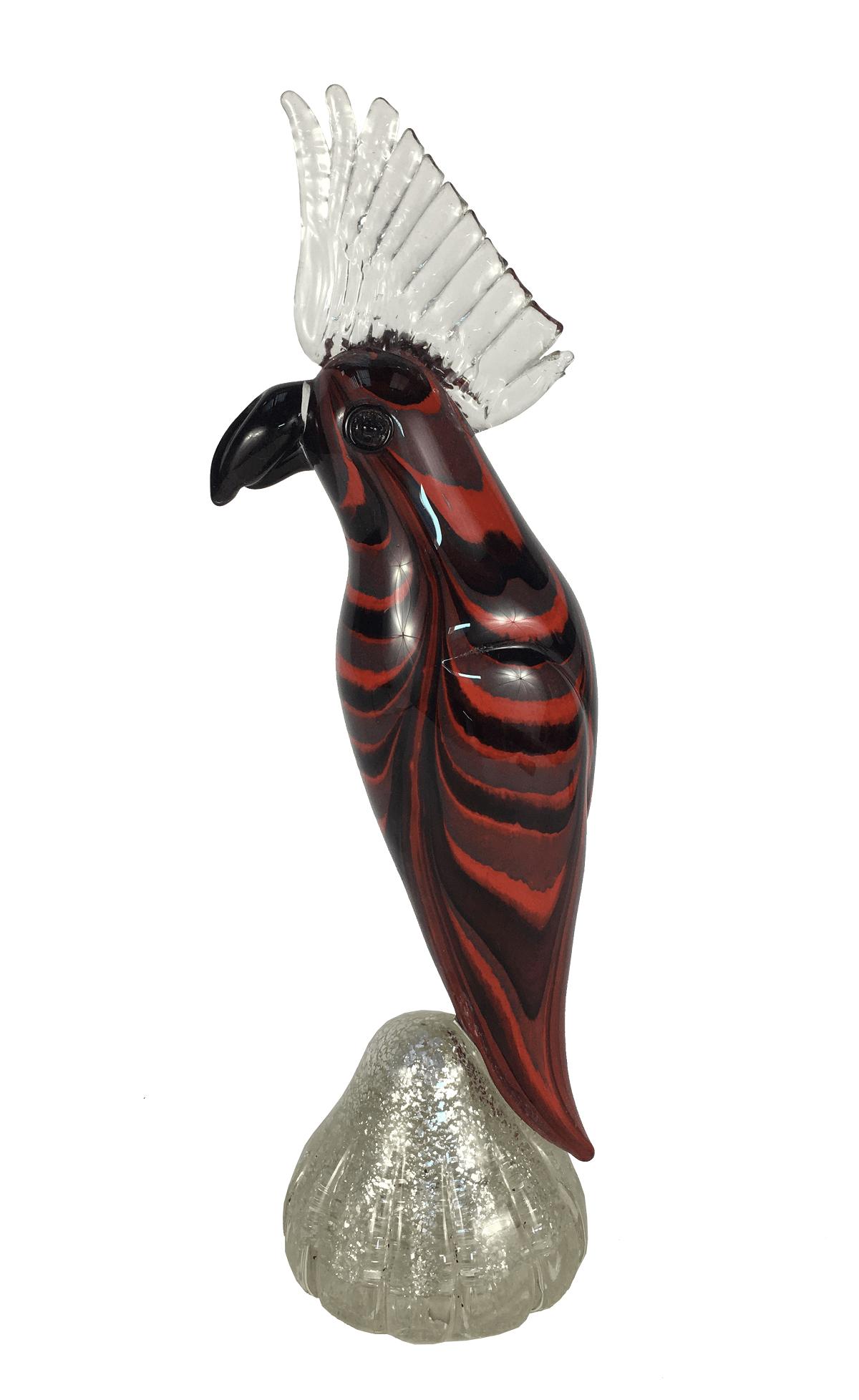 Escultura Passaro Cacatura De Murano 35cm