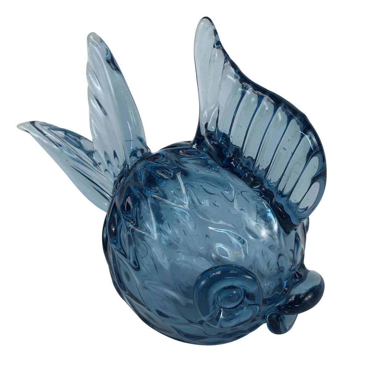 Escultura Peixe Vidro De Murano Azul
