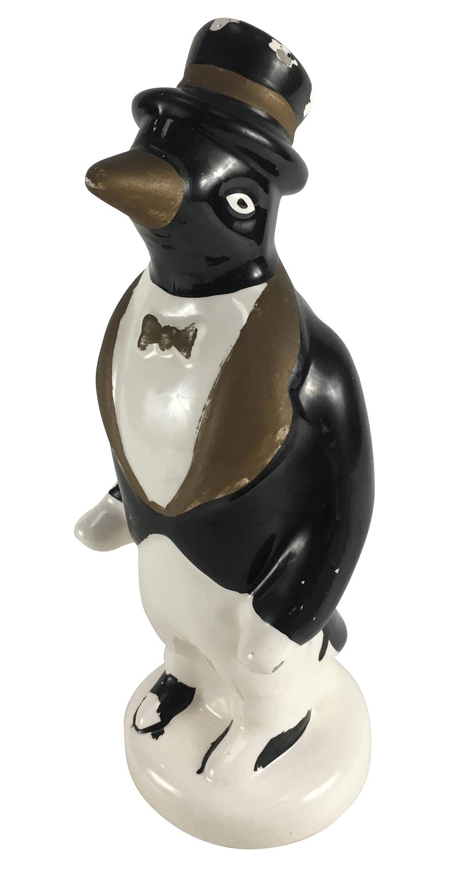 Escultura Porcelana Pinguim 29cm Altura