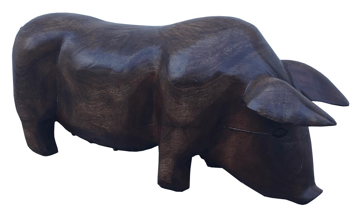 Escultura Porco Em Madeira Maciça Belissimo