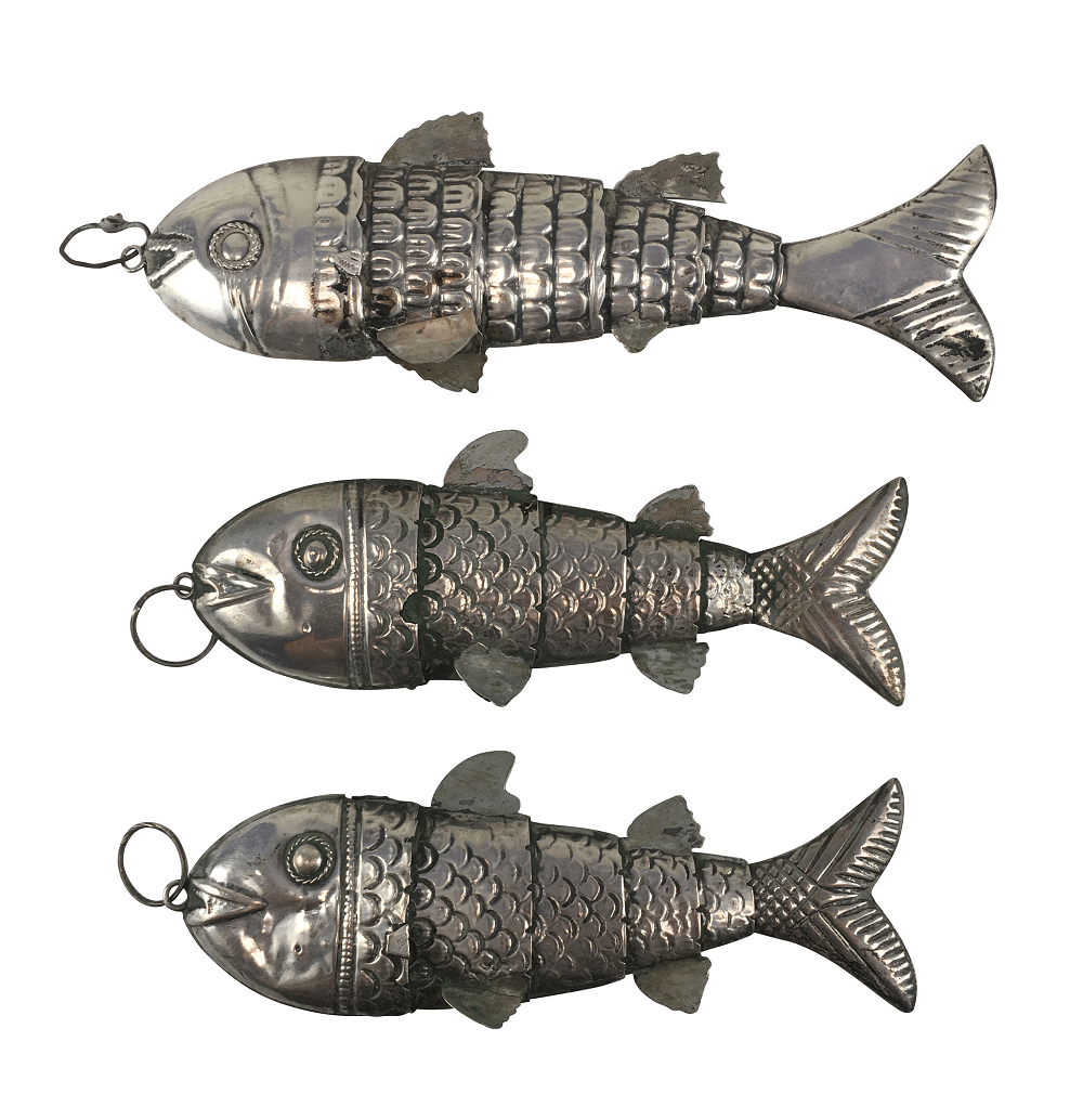 Esculturas De Peixe Articulado Prata De Lei