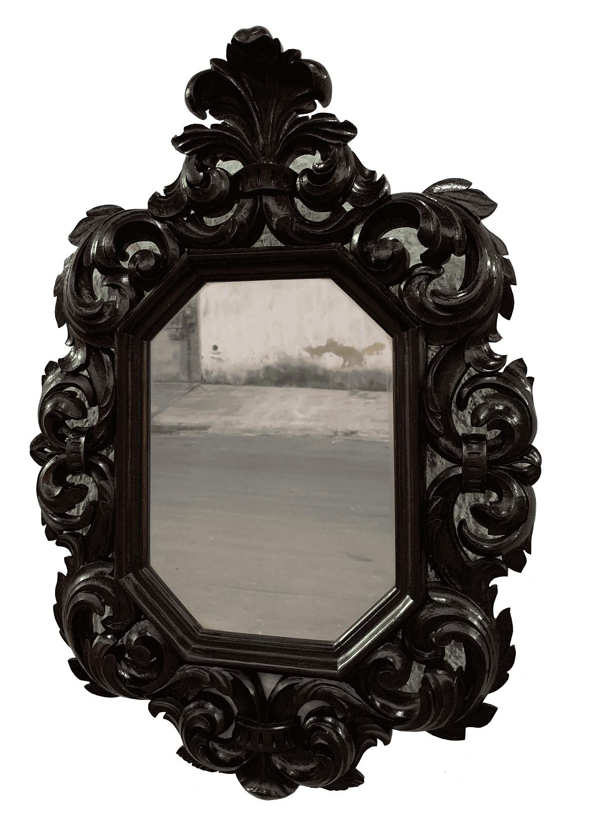 Espelho Antigo De Madeira Todo Entalhado A Mao