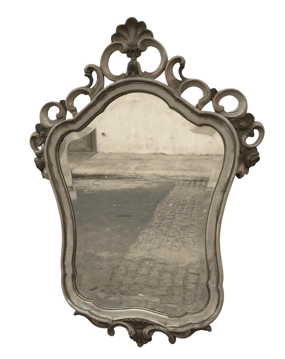 Espelho Antigo Em Madeira Entalhada Patina