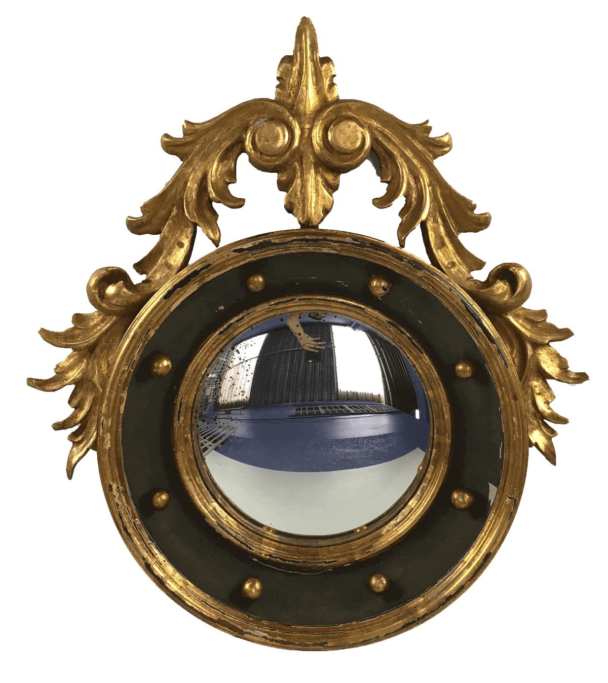 Espelho Antigo Em Madeira Folheado A Ouro