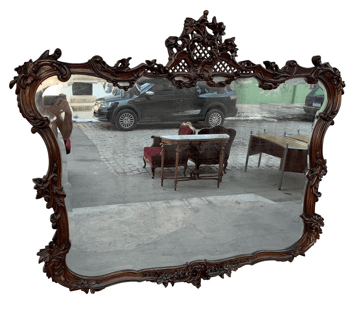 Espelho Antigo Luis Xv Bisotado Madeira Nobre