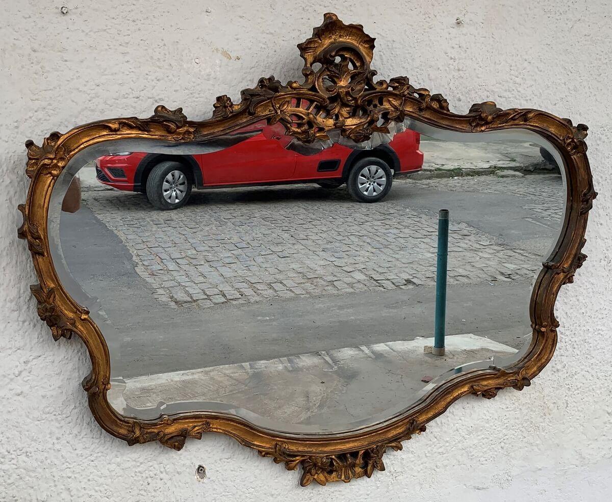 Espelho Antigo Luis Xv Folheado A Ouro Bisotado
