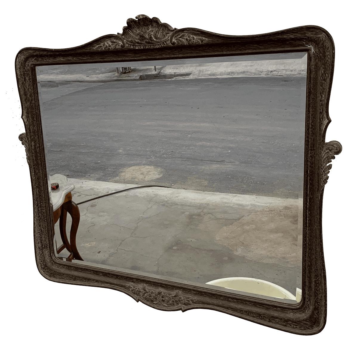 Espelho Antigo Luis Xv Patina Bisotado 88x100cm