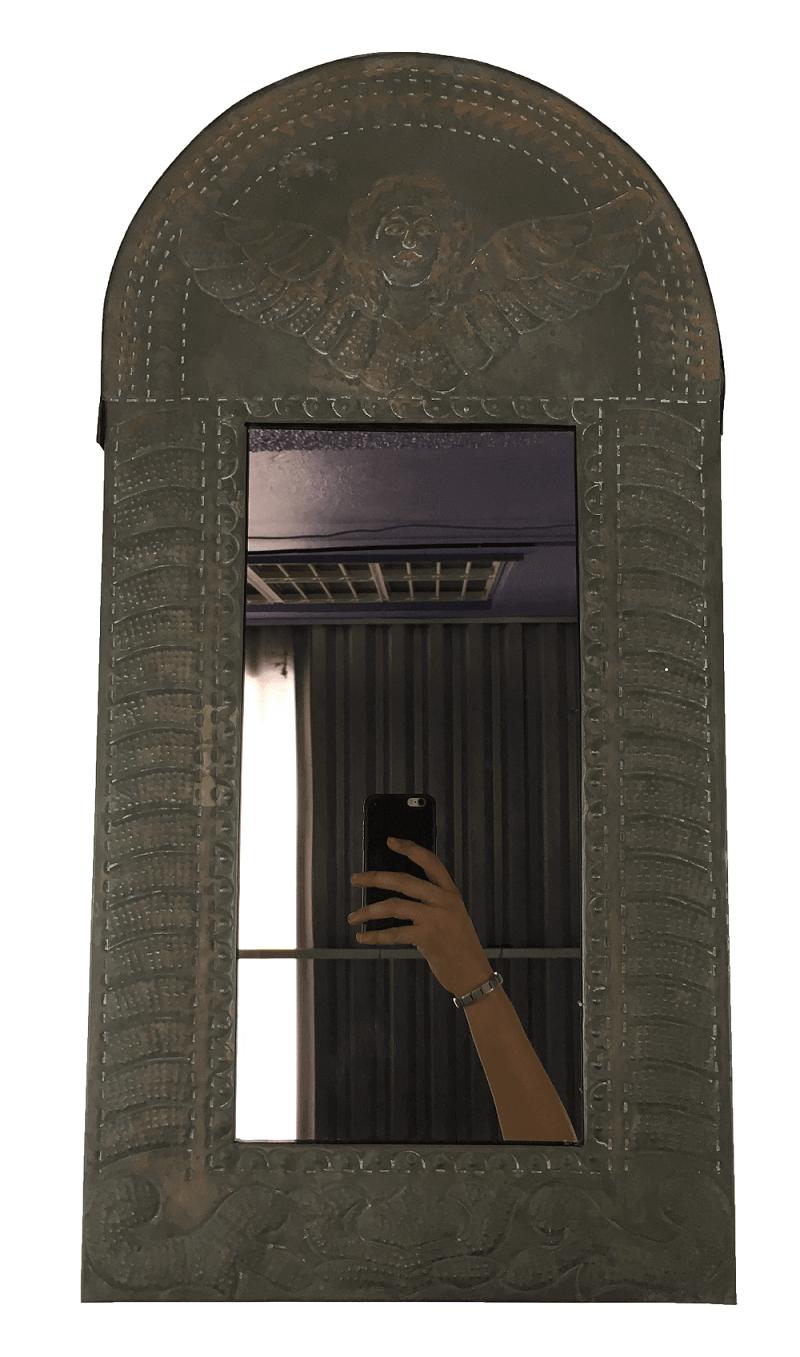 Espelho Antigo Moldura Metal Anjo