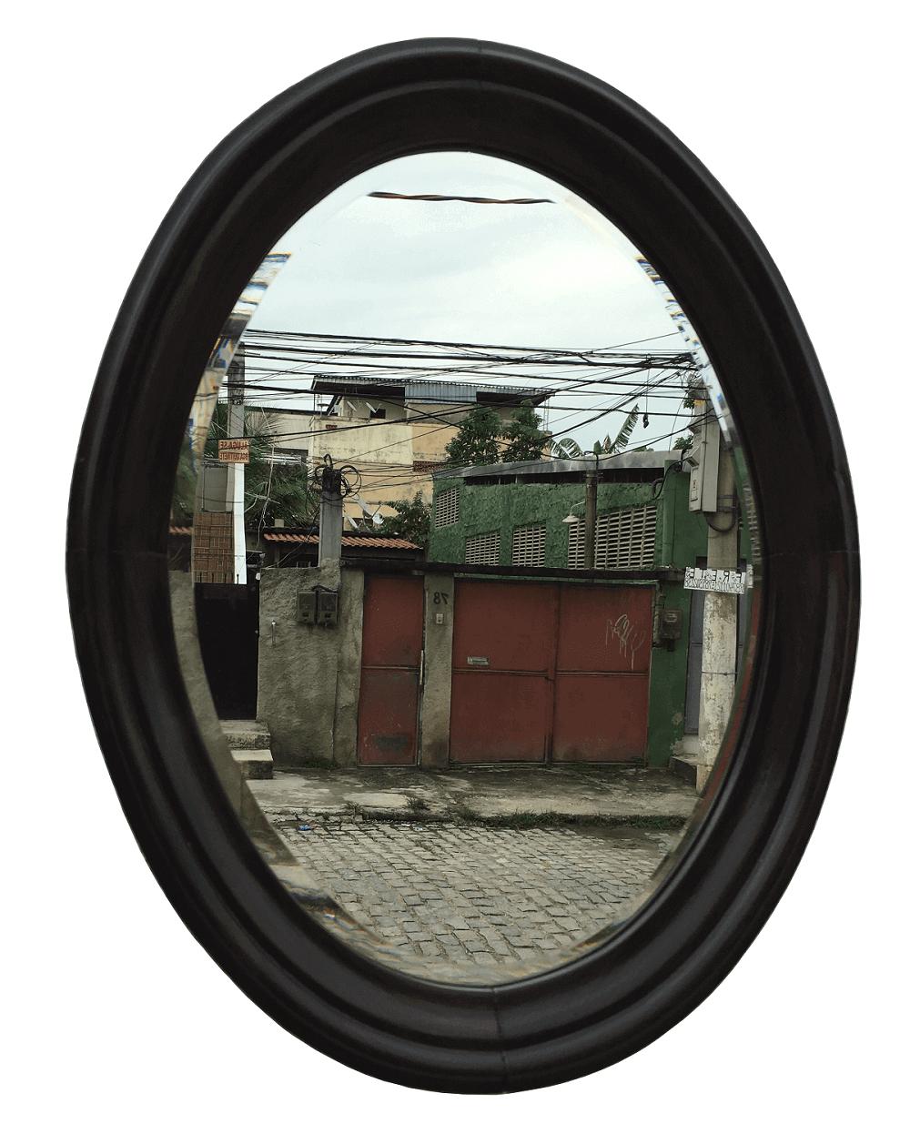 Espelho Antigo Oval Bisotado Pequeno Em Jacaranda