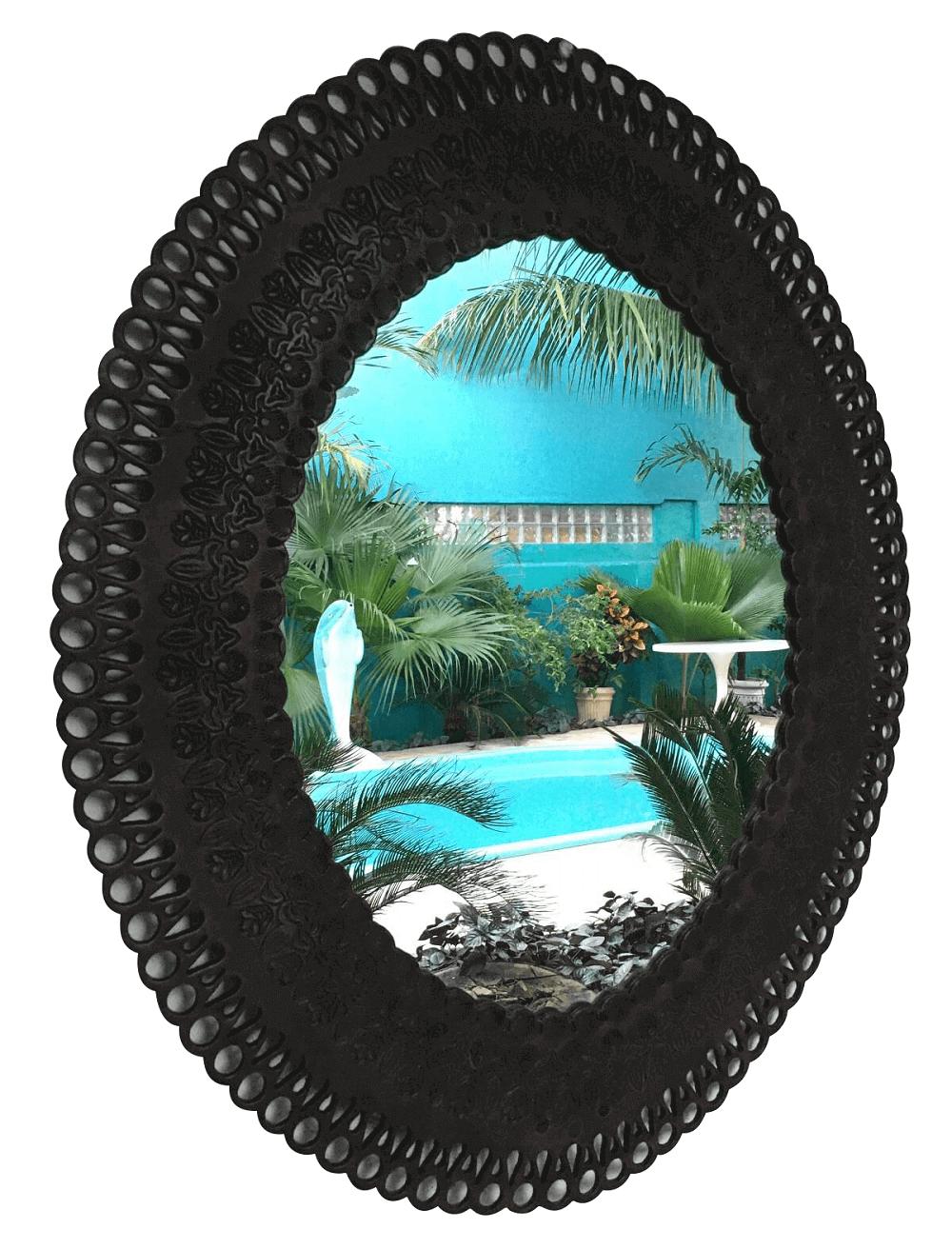 Espelho Antigo Oval Em Couro