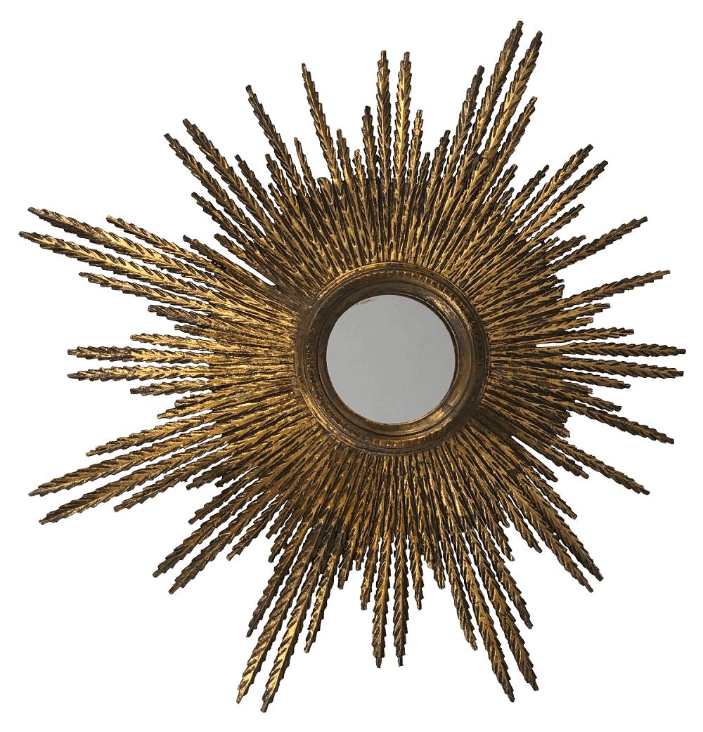 Espelho Antigo Sol Madeira Folheado A Ouro