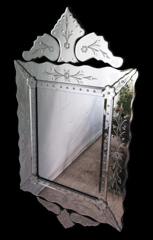 Espelho Veneziano Grande Luis Xv Retangular Vintage
