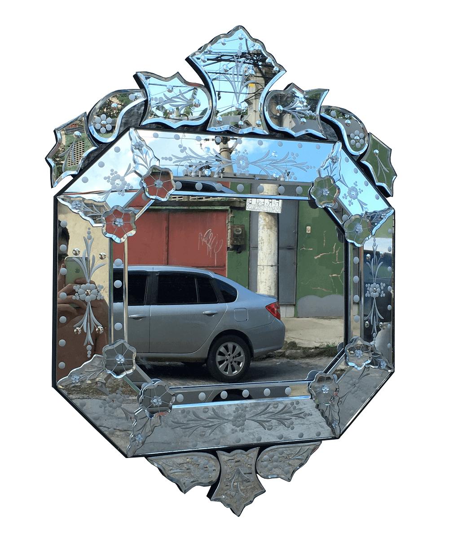Espelho Veneziano Oitavado Vintage Para Sala 73x56cm