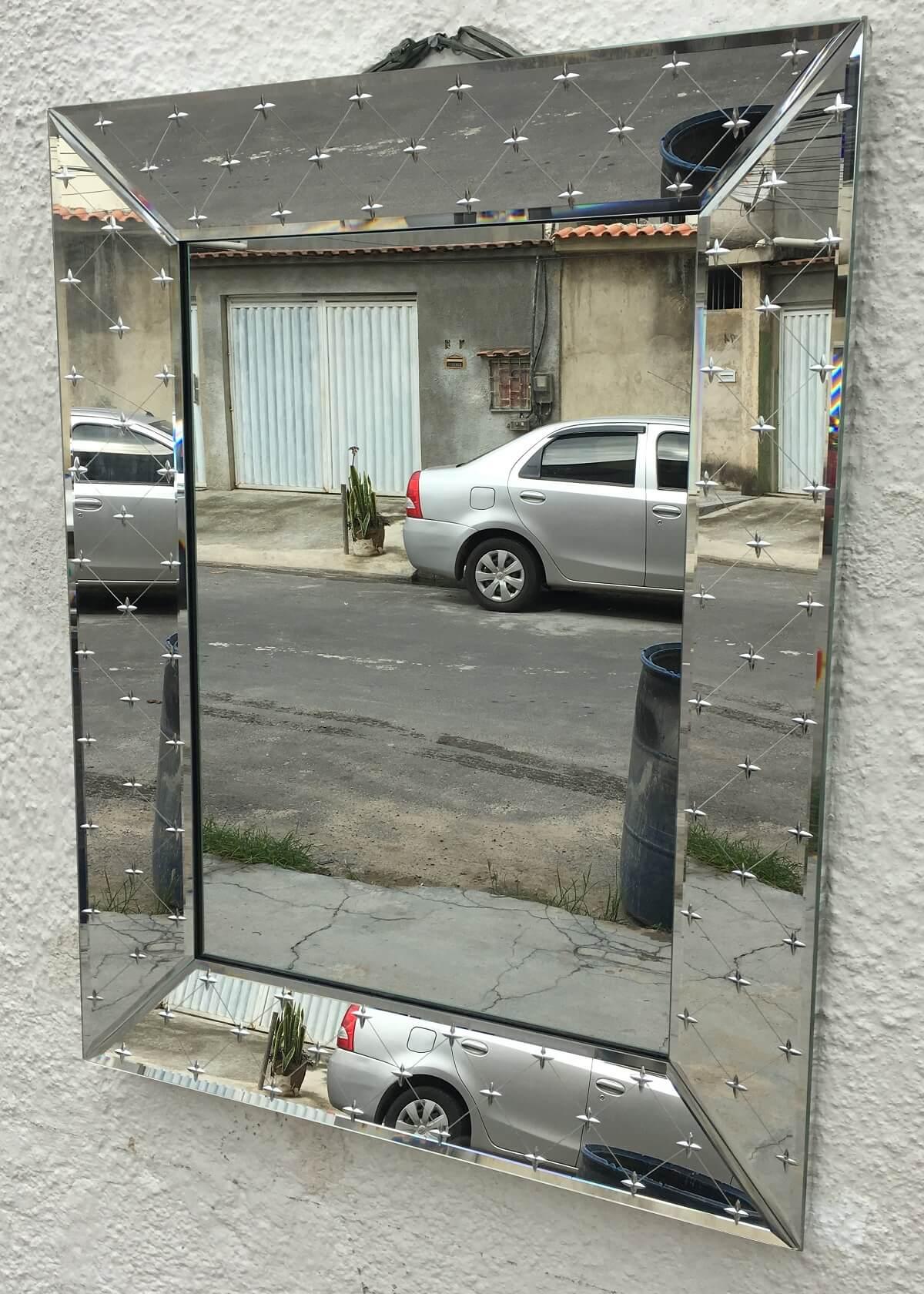 Espelho Veneziano Vintage Retangular Linda Lapidacao